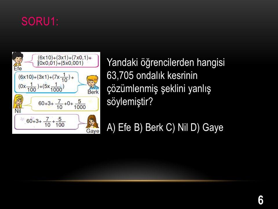 SORU1: Yandaki öğrencilerden hangisi 63,705 ondalık kesrinin çözümlenmiş şeklini yanlış söylemiştir