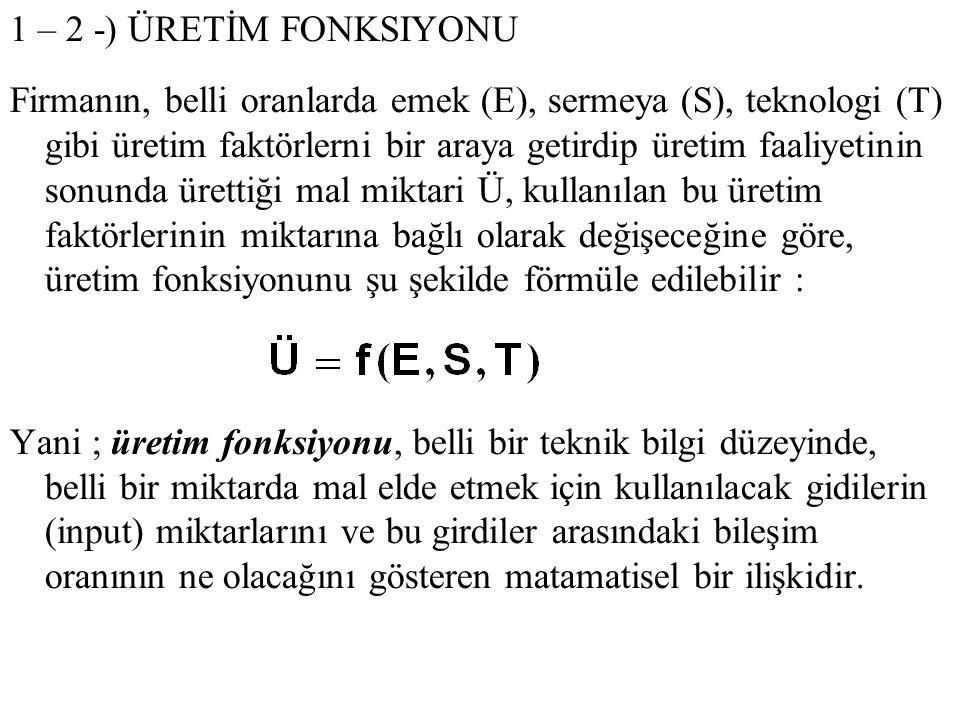 1 – 2 -) ÜRETİM FONKSIYONU