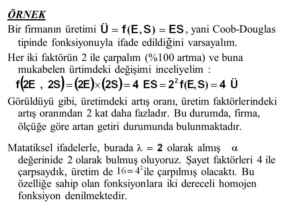 ÖRNEK Bir firmanın üretimi , yani Coob-Douglas tipinde fonksiyonuyla ifade edildiğini varsayalım.