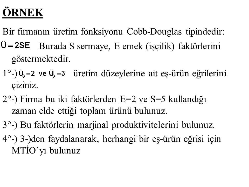 ÖRNEK Bir firmanın üretim fonksiyonu Cobb-Douglas tipindedir: