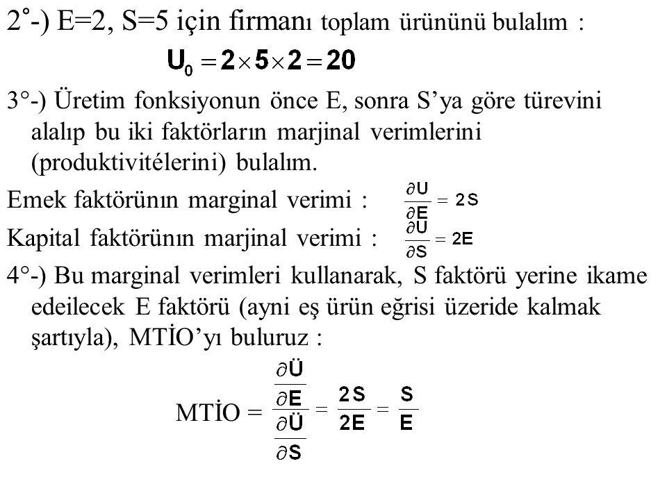 2°-) E=2, S=5 için firmanı toplam ürününü bulalım :
