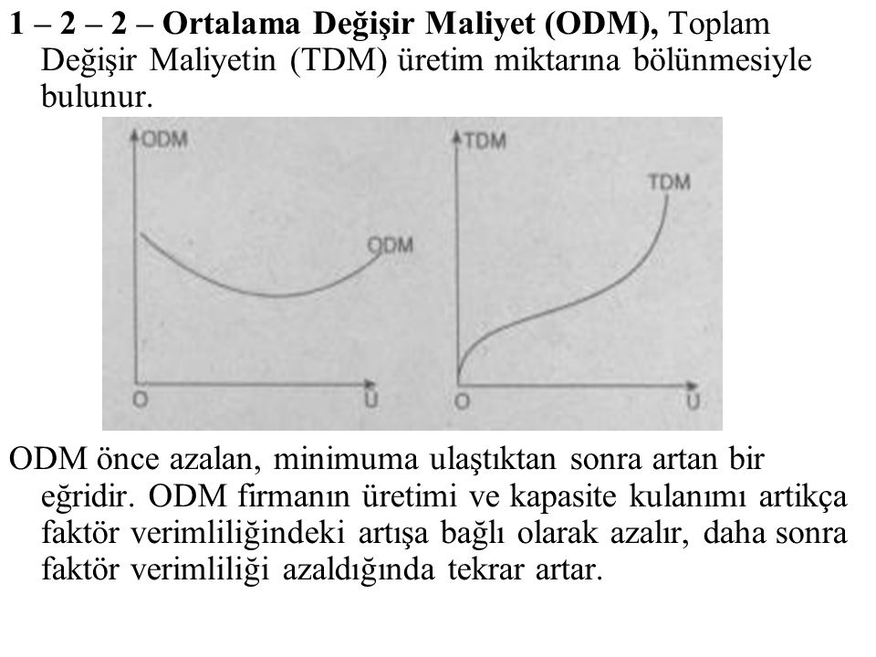 1 – 2 – 2 – Ortalama Değişir Maliyet (ODM), Toplam Değişir Maliyetin (TDM) üretim miktarına bölünmesiyle bulunur.