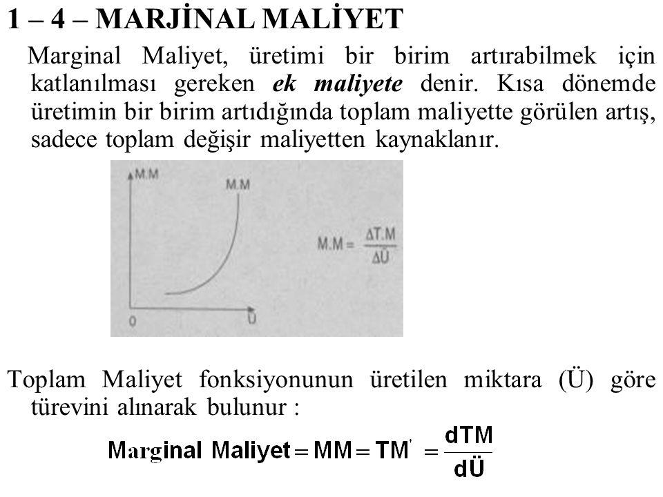 1 – 4 – MARJİNAL MALİYET