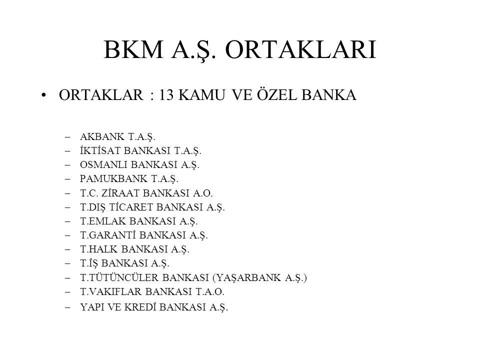 BKM A.Ş. ORTAKLARI ORTAKLAR : 13 KAMU VE ÖZEL BANKA AKBANK T.A.Ş.