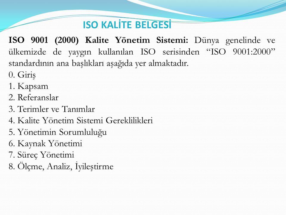 ISO KALİTE BELGESİ