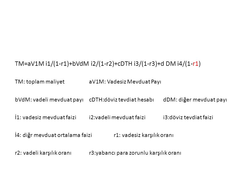 TM=aV1M i1/(1-r1)+bVdM i2/(1-r2)+cDTH i3/(1-r3)+d DM i4/(1-r1)