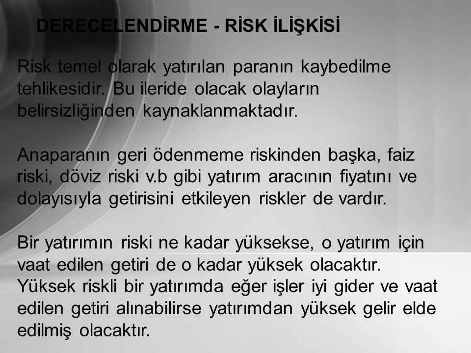 DERECELENDİRME - RİSK İLİŞKİSİ