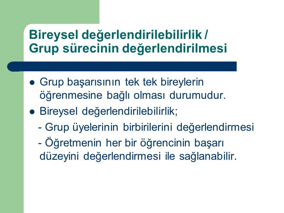 Bireysel değerlendirilebilirlik / Grup sürecinin değerlendirilmesi