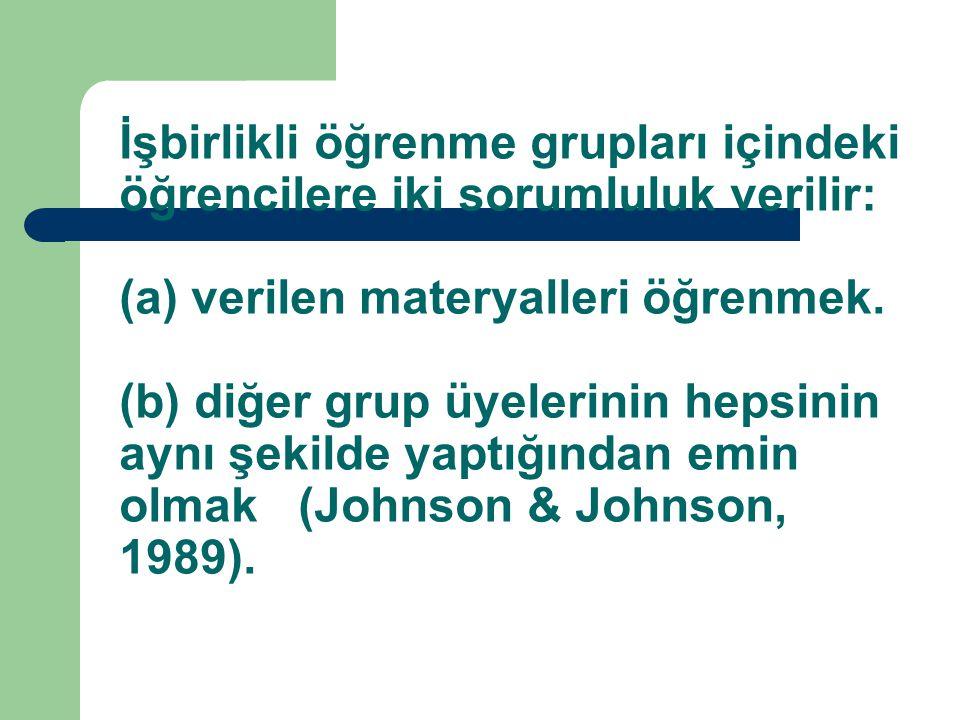 İşbirlikli öğrenme grupları içindeki öğrencilere iki sorumluluk verilir: (a) verilen materyalleri öğrenmek.
