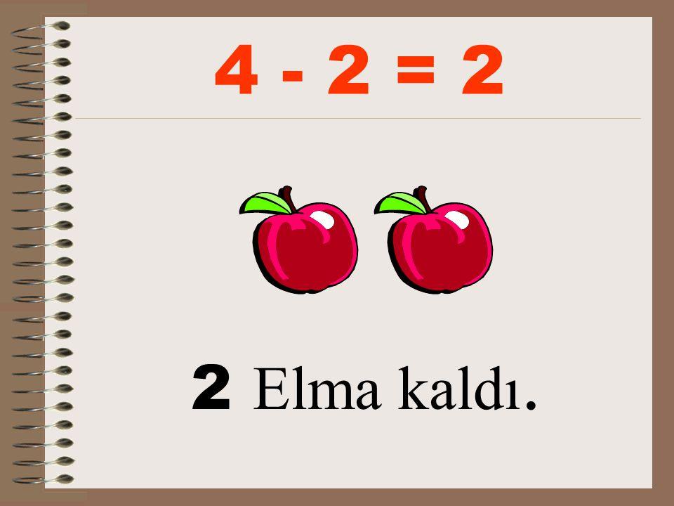 4 - 2 = 2 2 Elma kaldı.