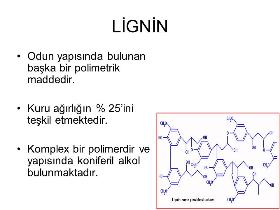 LİGNİN Odun yapısında bulunan başka bir polimetrik maddedir.