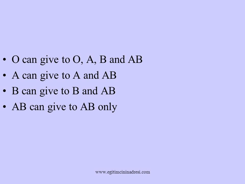 O can give to O, A, B and AB A can give to A and AB