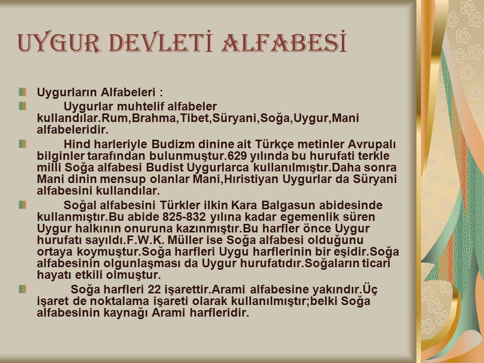 UYGUR DEVLETİ ALFABESİ