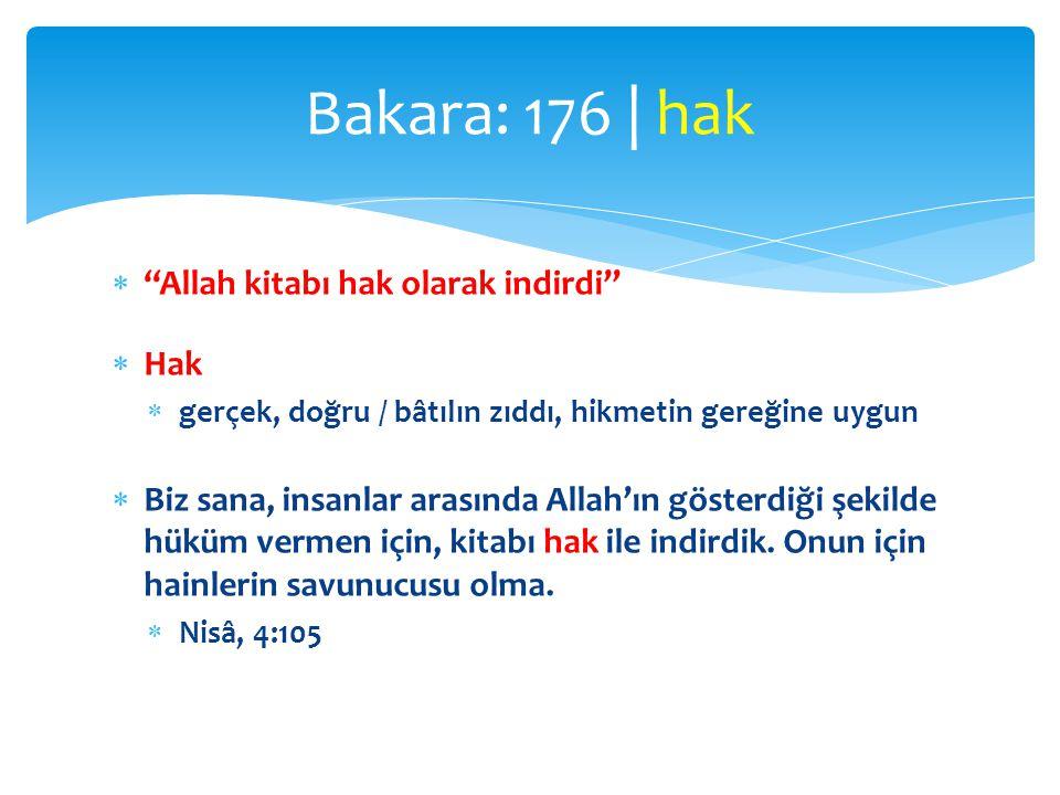 Bakara: 176 | hak Allah kitabı hak olarak indirdi Hak