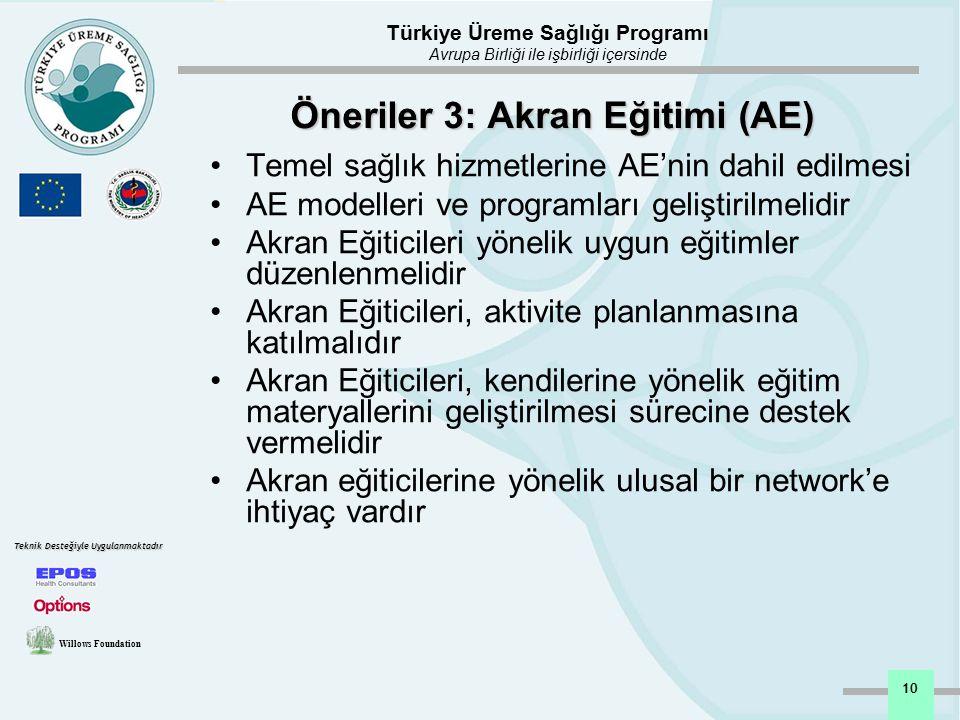 Öneriler 3: Akran Eğitimi (AE)