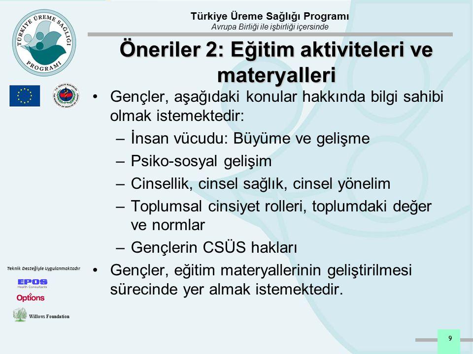 Öneriler 2: Eğitim aktiviteleri ve materyalleri