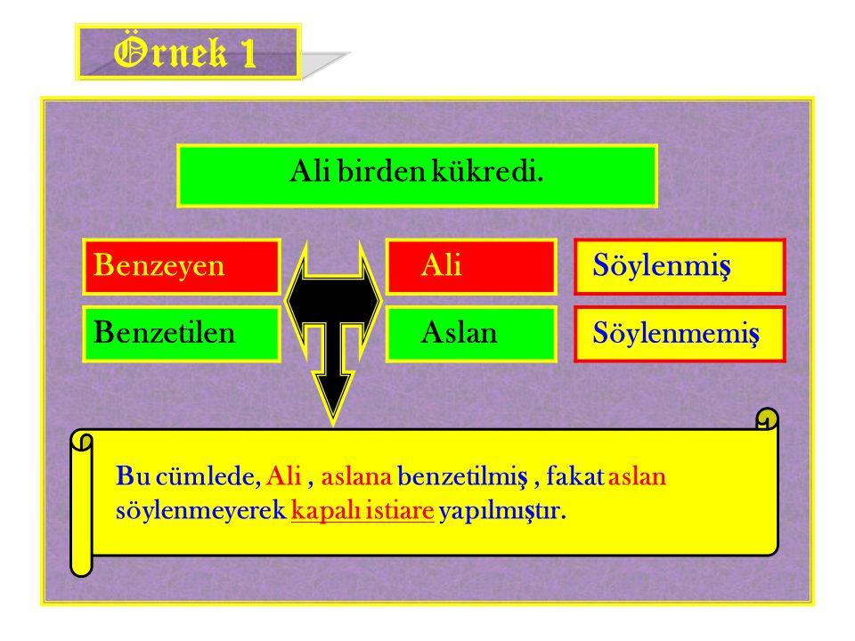 Örnek 1 Ali birden kükredi. Benzeyen Ali Söylenmiş Benzetilen Aslan