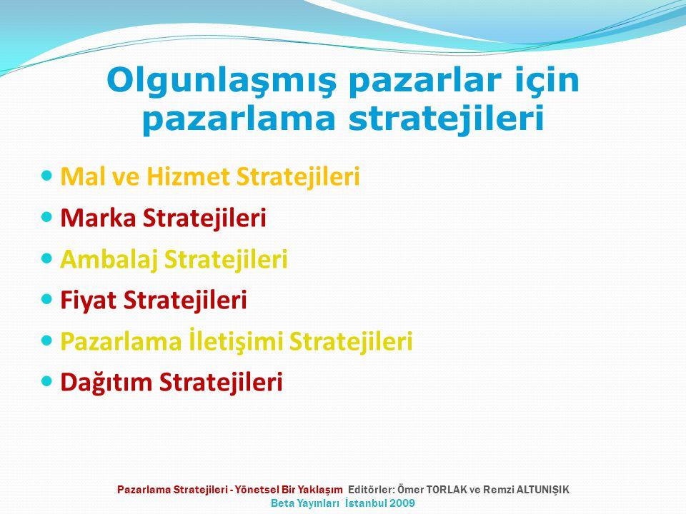 Olgunlaşmış pazarlar için pazarlama stratejileri