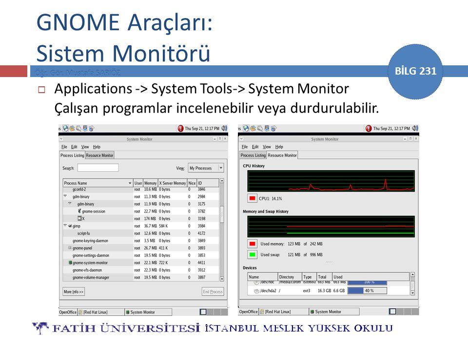 GNOME Araçları: Sistem Monitörü