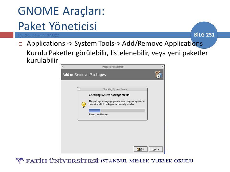 GNOME Araçları: Paket Yöneticisi