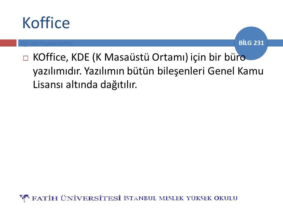 Koffice KOffice, KDE (K Masaüstü Ortamı) için bir büro yazılımıdır.