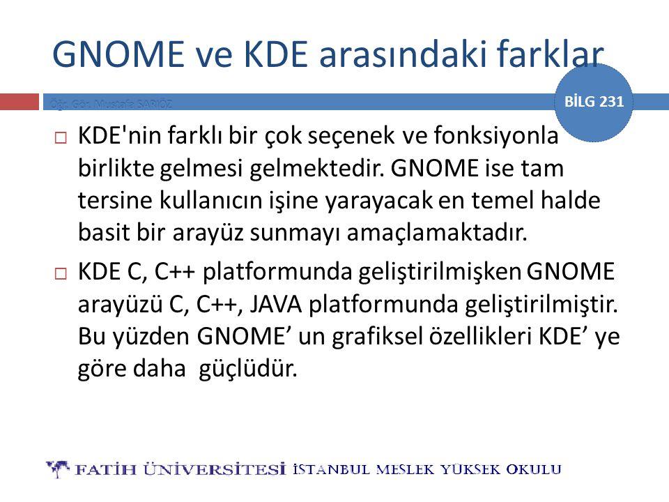 GNOME ve KDE arasındaki farklar