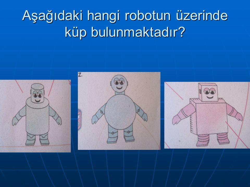Aşağıdaki hangi robotun üzerinde küp bulunmaktadır