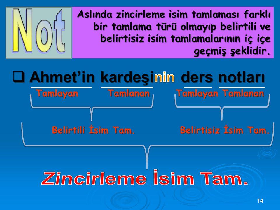 Zincirleme İsim Tam. Ahmet'in kardeşi ders notları nin