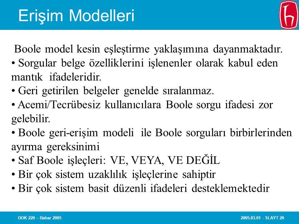 Erişim Modelleri Boole model kesin eşleştirme yaklaşımına dayanmaktadır. Sorgular belge özelliklerini işlenenler olarak kabul eden.