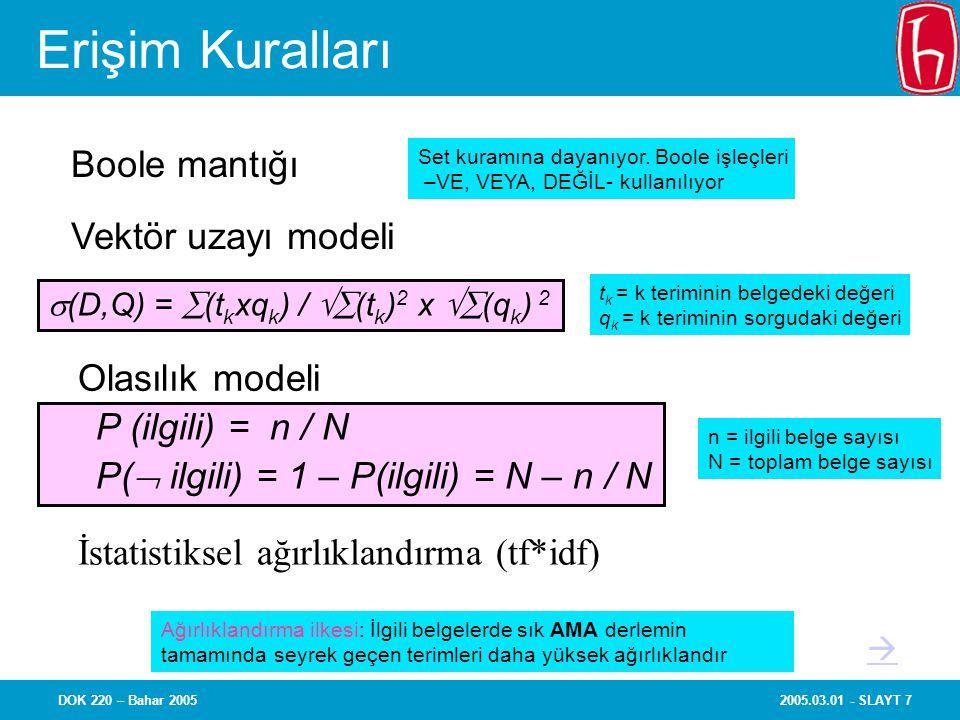 Erişim Kuralları Boole mantığı Vektör uzayı modeli Olasılık modeli