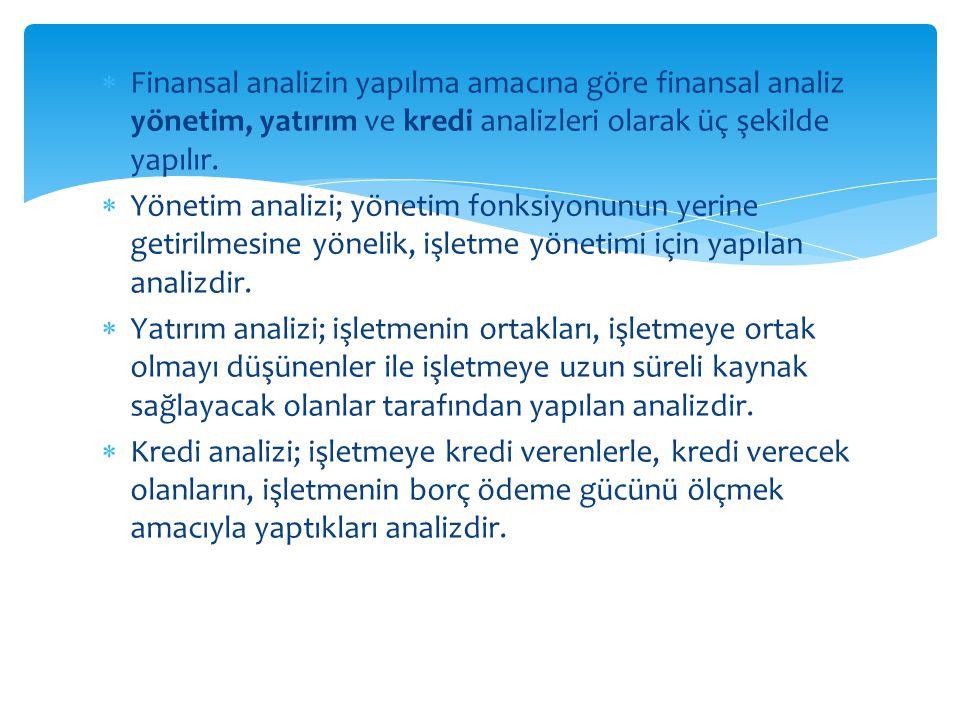 Finansal analizin yapılma amacına göre finansal analiz yönetim, yatırım ve kredi analizleri olarak üç şekilde yapılır.