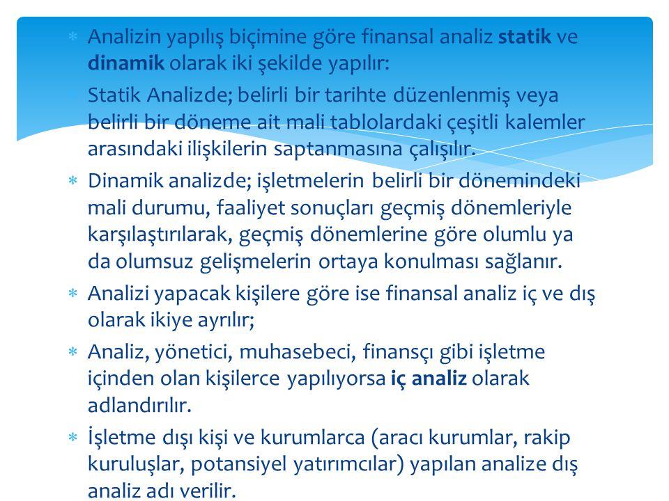 Analizin yapılış biçimine göre finansal analiz statik ve dinamik olarak iki şekilde yapılır: