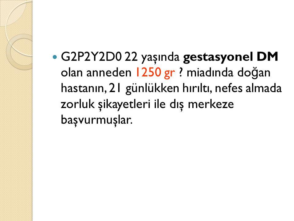 G2P2Y2D0 22 yaşında gestasyonel DM olan anneden 1250 gr