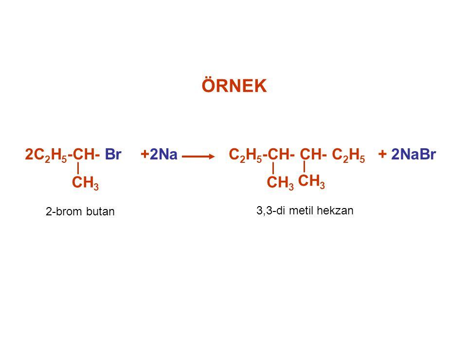 ÖRNEK 2C2H5-CH- Br CH3 +2Na C2H5-CH- CH- C2H5 + 2NaBr 2-brom butan