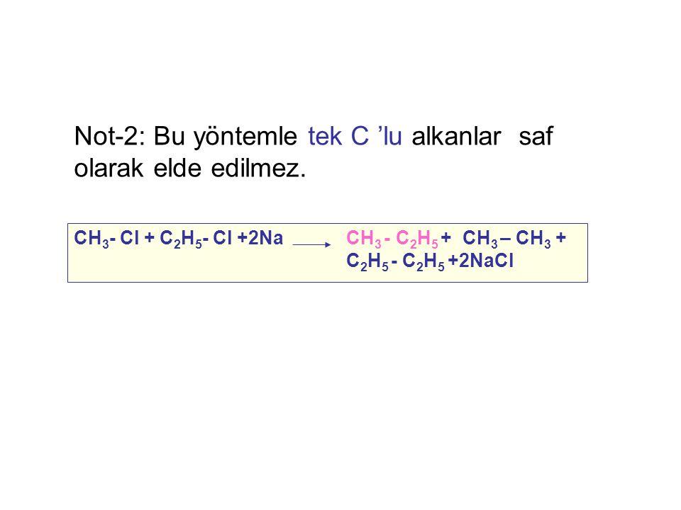 Not-2: Bu yöntemle tek C 'lu alkanlar saf olarak elde edilmez.