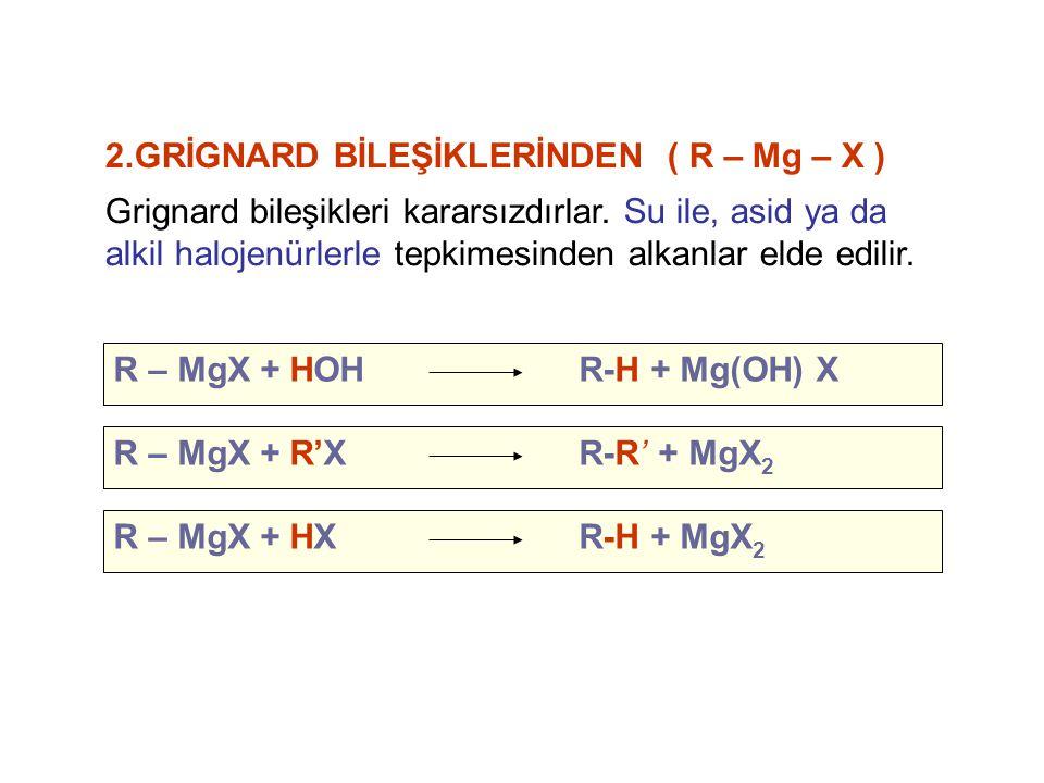 2.GRİGNARD BİLEŞİKLERİNDEN ( R – Mg – X )