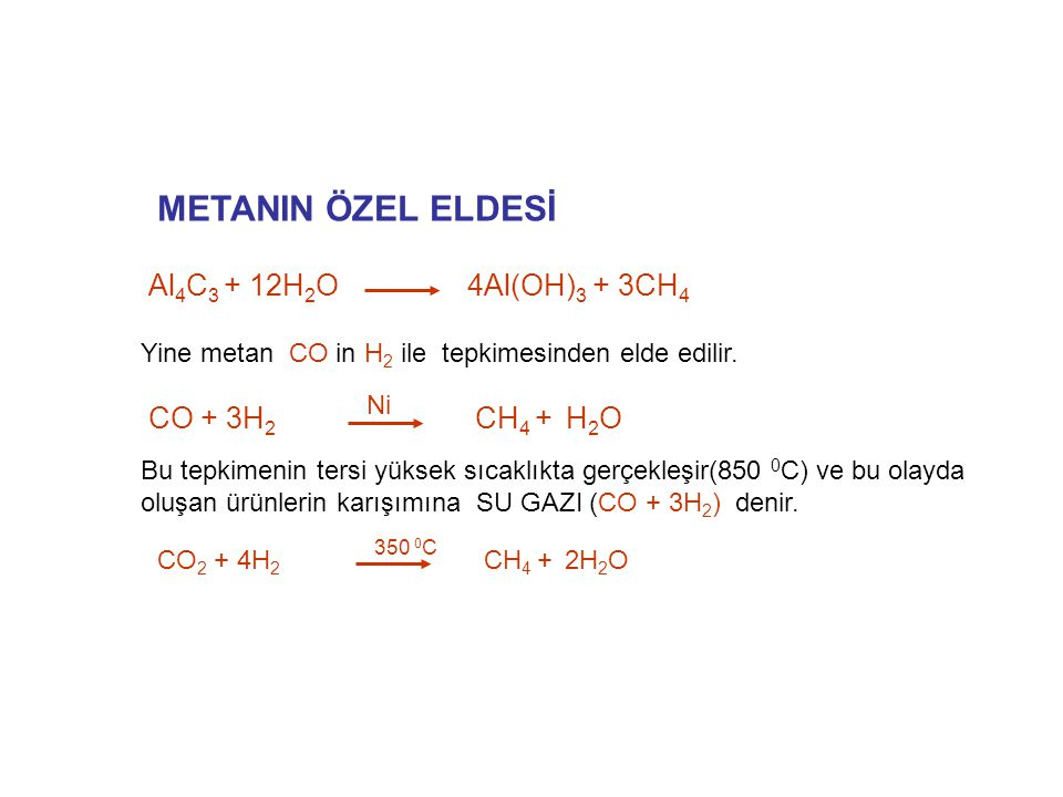 METANIN ÖZEL ELDESİ Al4C3 + 12H2O 4Al(OH)3 + 3CH4 CO + 3H2 CH4 + H2O