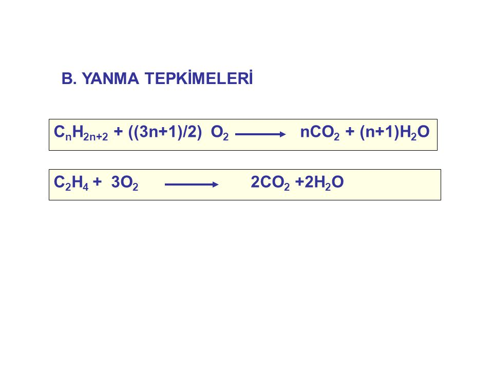 B. YANMA TEPKİMELERİ CnH2n+2 + ((3n+1)/2) O2 nCO2 + (n+1)H2O C2H4 + 3O2 2CO2 +2H2O