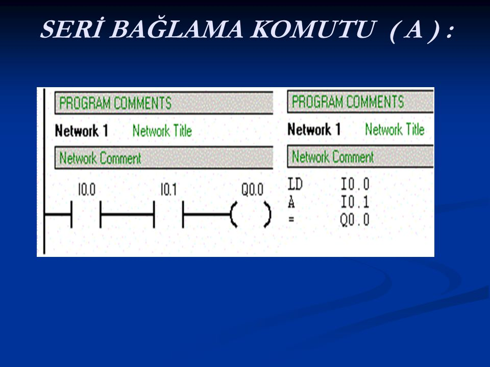 SERİ BAĞLAMA KOMUTU ( A ) :