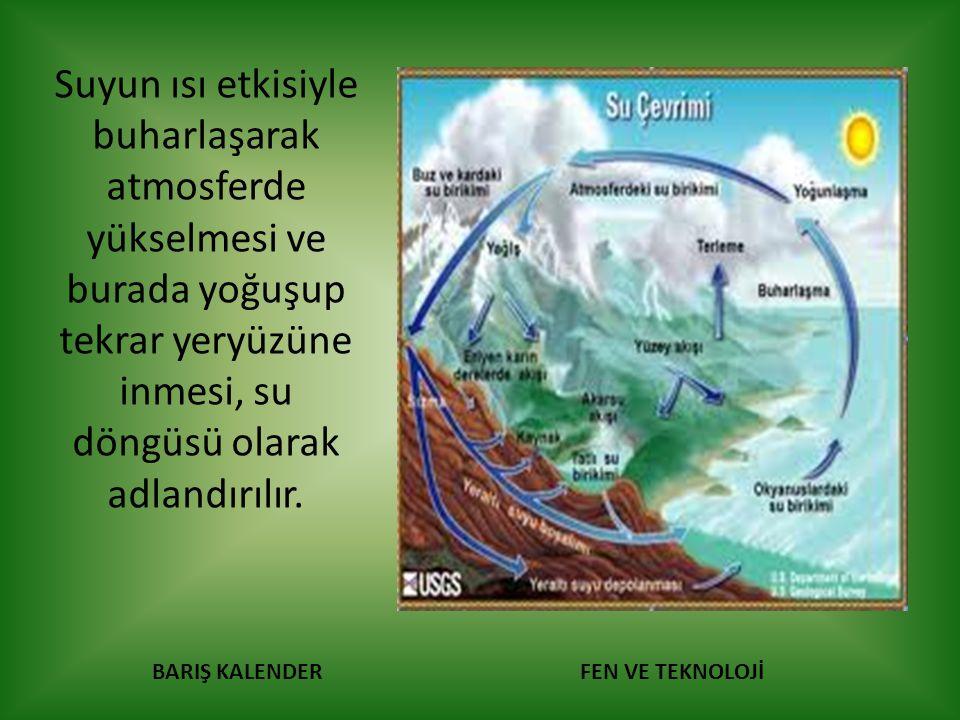 Suyun ısı etkisiyle buharlaşarak atmosferde yükselmesi ve burada yoğuşup tekrar yeryüzüne inmesi, su döngüsü olarak adlandırılır.