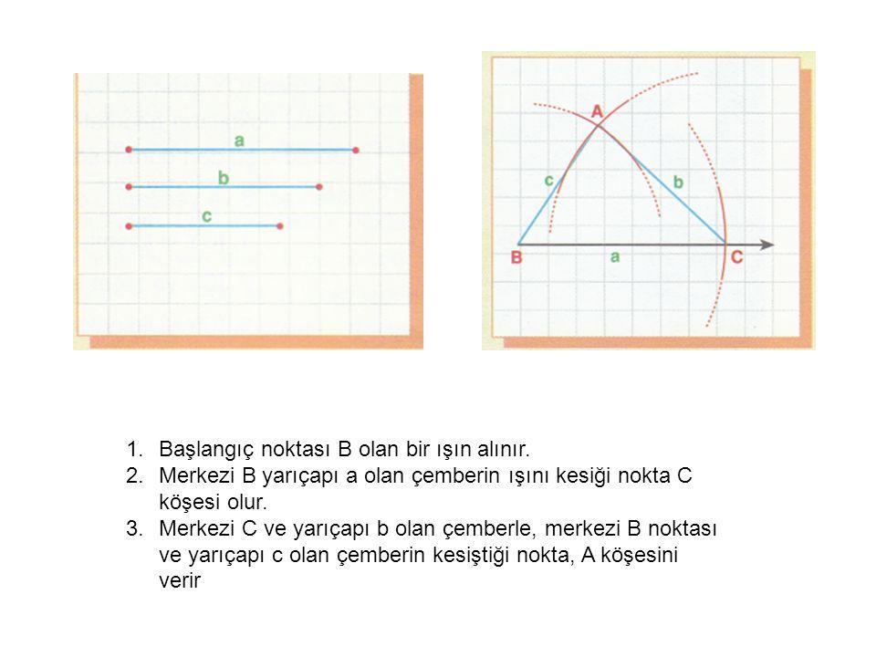 Başlangıç noktası B olan bir ışın alınır.
