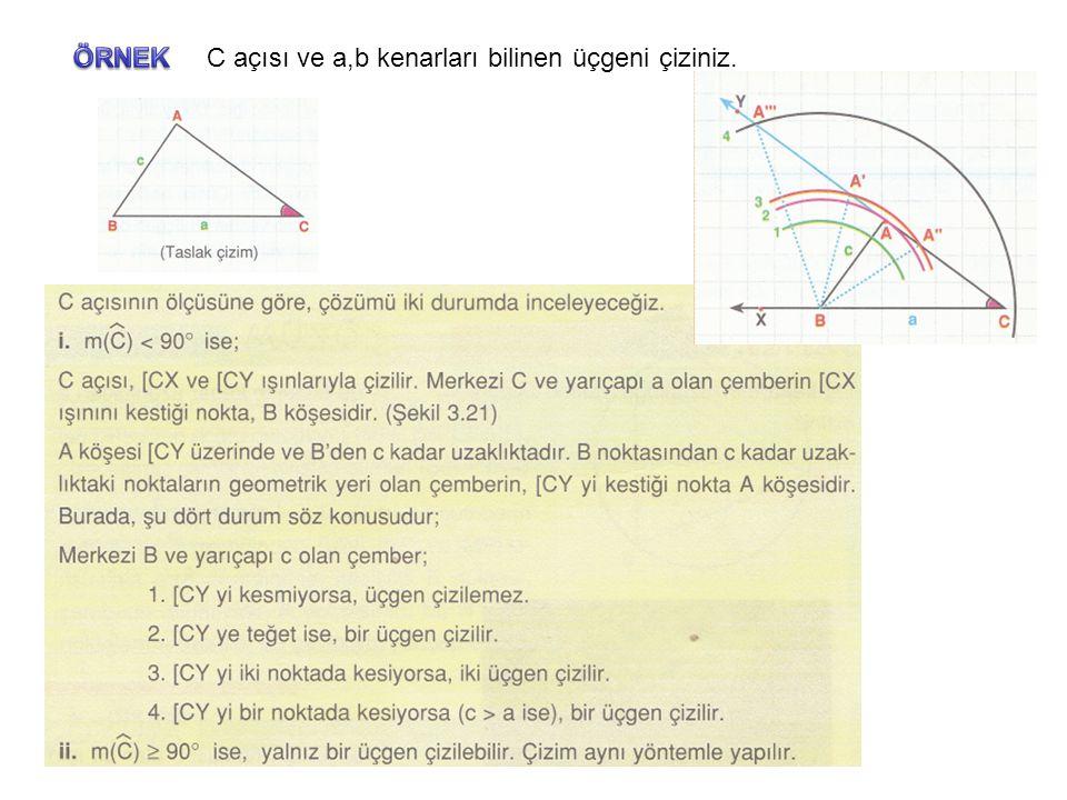 ÖRNEK C açısı ve a,b kenarları bilinen üçgeni çiziniz.