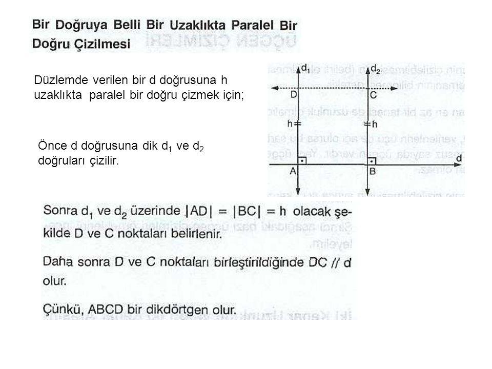 Düzlemde verilen bir d doğrusuna h uzaklıkta paralel bir doğru çizmek için;