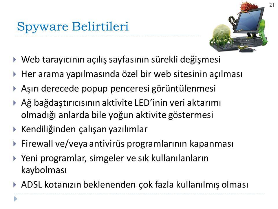 Spyware Belirtileri Web tarayıcının açılış sayfasının sürekli değişmesi. Her arama yapılmasında özel bir web sitesinin açılması.