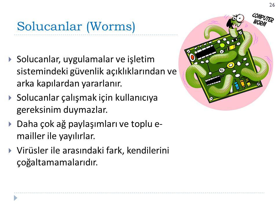 Solucanlar (Worms) Solucanlar, uygulamalar ve işletim sistemindeki güvenlik açıklıklarından ve arka kapılardan yararlanır.