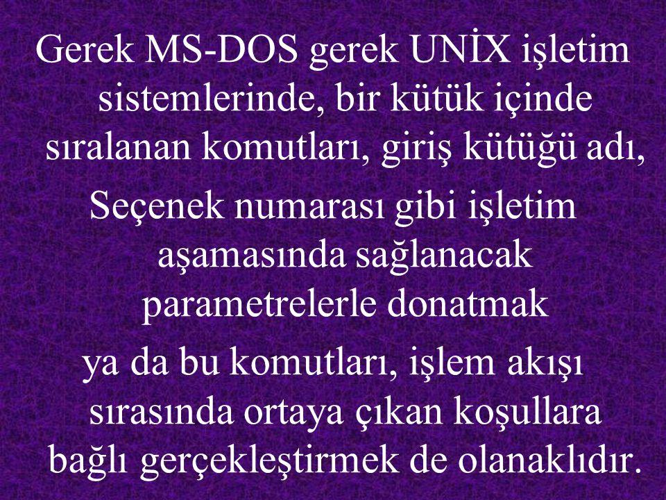 Gerek MS-DOS gerek UNİX işletim sistemlerinde, bir kütük içinde sıralanan komutları, giriş kütüğü adı,
