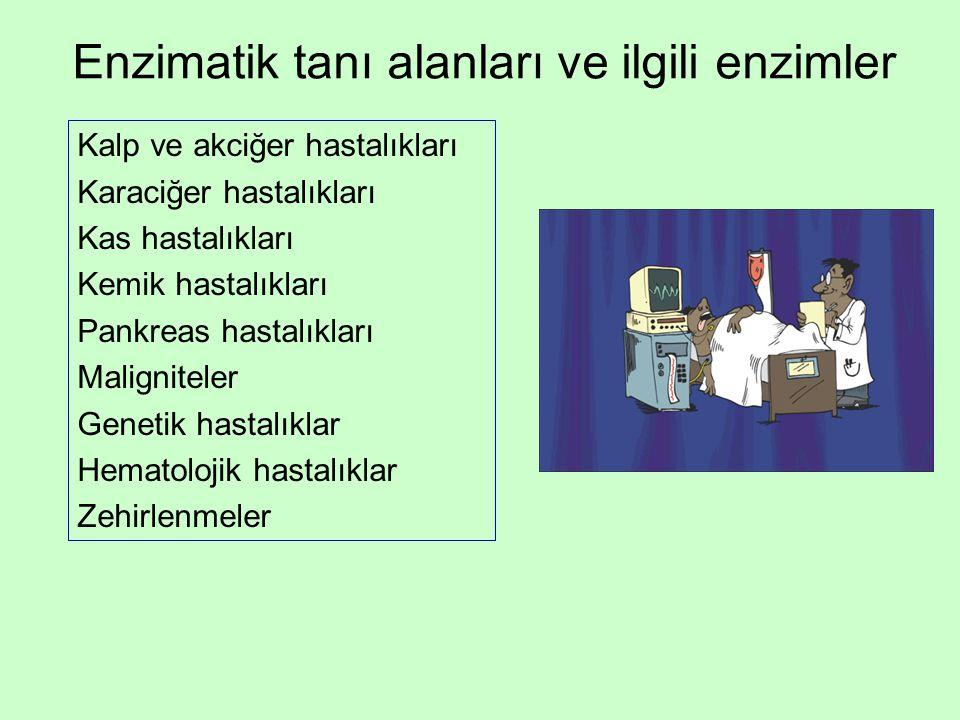 Enzimatik tanı alanları ve ilgili enzimler