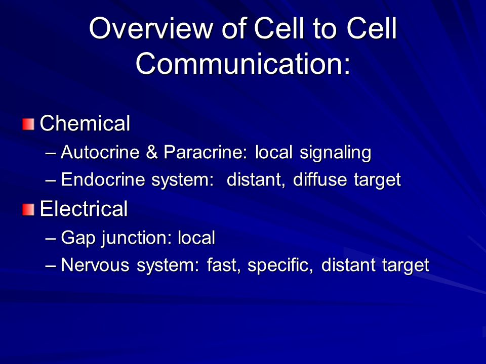 Overview of Cell to Cell Communication: