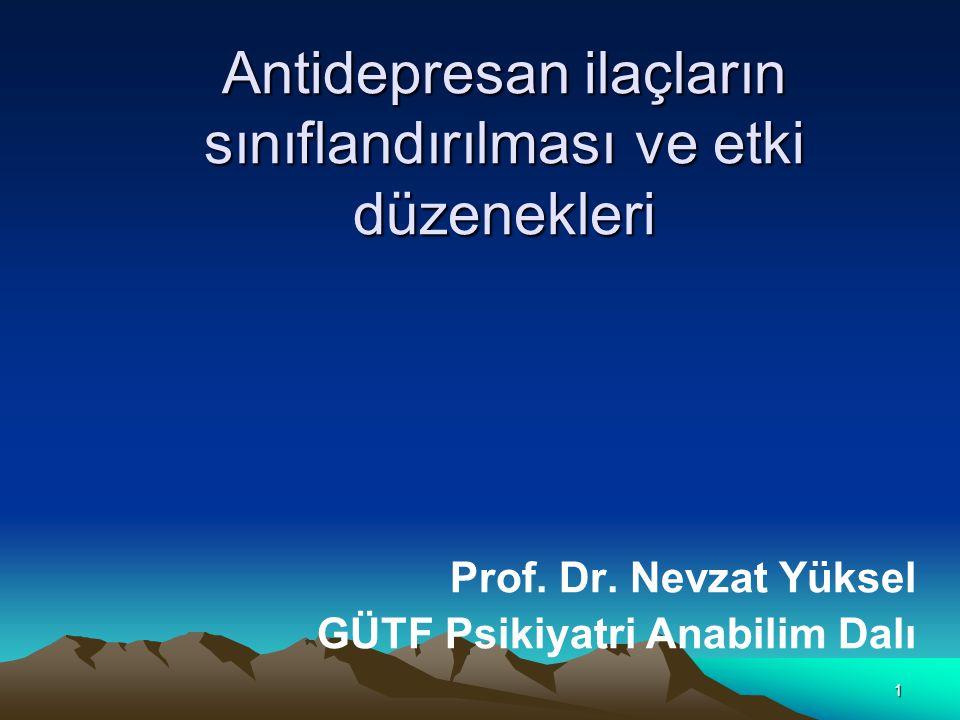 Antidepresan ilaçların sınıflandırılması ve etki düzenekleri