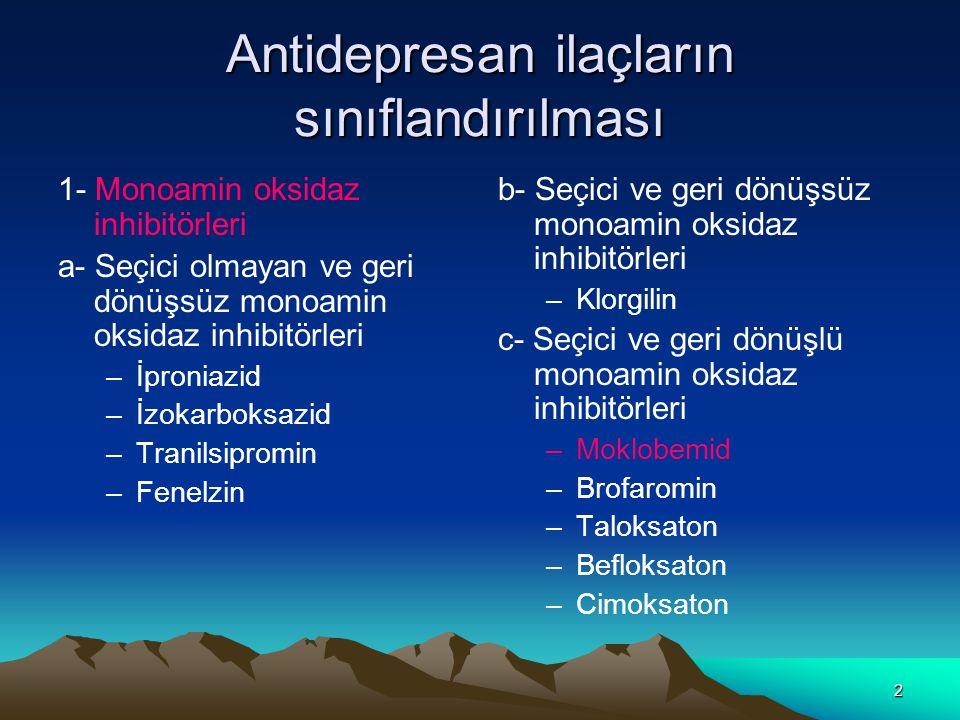 Antidepresan ilaçların sınıflandırılması